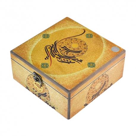 گز سکه لقمه 40 درصد پسته 400 گرمی جعبه چوبی برند عتیق | جی شاپ