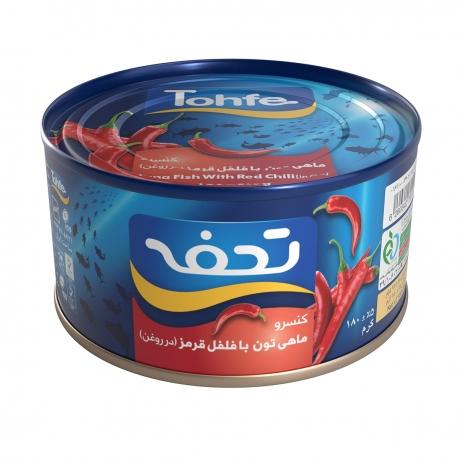 کنسرو ماهی تن با فلفل قرمز در روغن تحفه 180 گرمی | جی شاپ