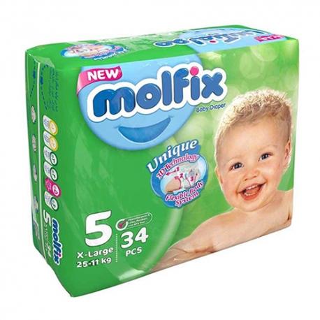 پوشک مولفیکس سایز 5 بسته 34 عددی | جی شاپ