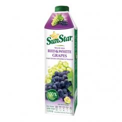 آب میوه طبیعی انگور قرمز و سفید سان استار 1 لیتری