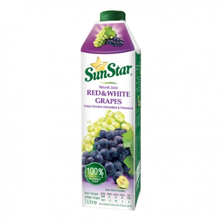 آب میوه طبیعی انگور قرمز و سفید سان استار 1 لیتری | جی شاپ